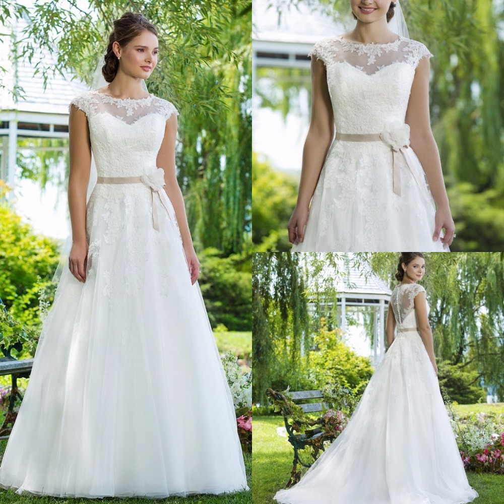 Beautiful a line garden wedding dress 2015 summer style for Dresses for spring wedding