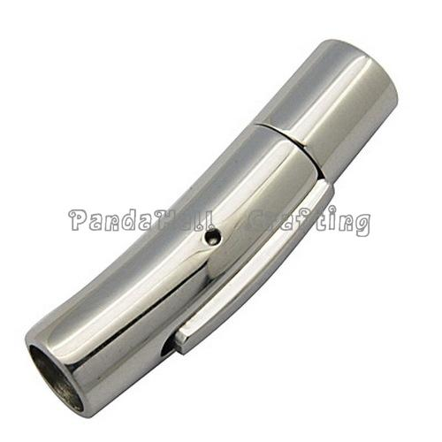 Tube 304 Stainless Steel Bayonet Clasps, Jewelry Findings, Stainless Steel Color, 30x6.5mm, Hole: 5mm(China (Mainland))