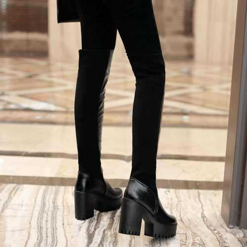 2015 New Fashion Over The Knee High Boots For Women Sexy Thick High Heels Black Color Long Shoes Hot sale <br><br>Aliexpress