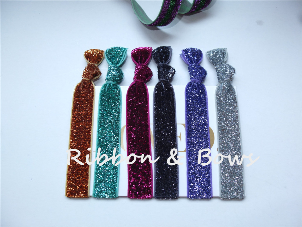 Mix colors,Glitter elastic Hair ties,FOE Hair band Headbands,Wrist strap  Hair accessories,Sparkling Hair rope Hair loop ,