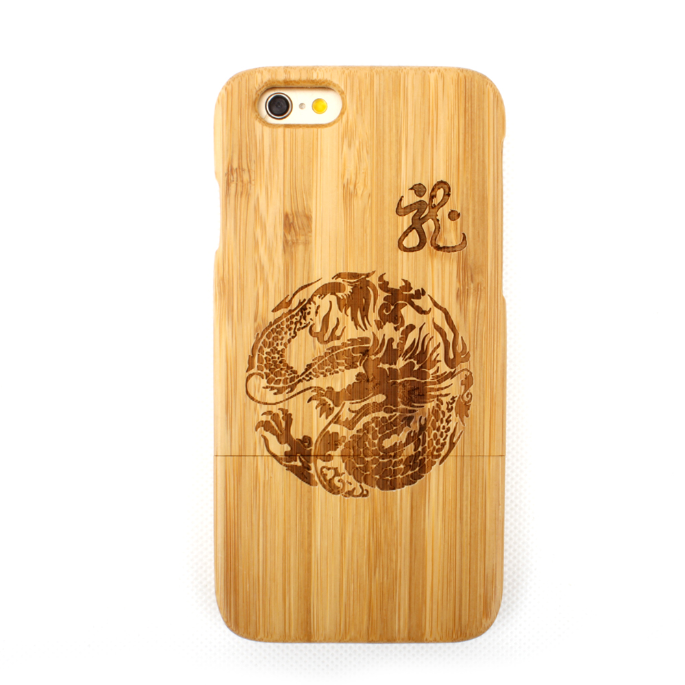 New Chinese Dragon Pattern Bamboo Life Removable+Luxury Bamboo Mobile Phone Case For iPhone 5/5s 6/6plus 6s/6splus(China (Mainland))