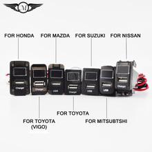 Voiture USB chargeur 12 v avec voltmètre convient pour Honda / Toyota / VIGO / Nissan / Mitsubishi / Suzuki / Mazda Type spécial de 2.1 uma In Situ