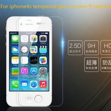 For iPhone 4 4s Premium Tempered Glass Screen Protector Ultra Thin 0.26 mm 2.5D Explosion Proof Protective Film + Cleaning Kit