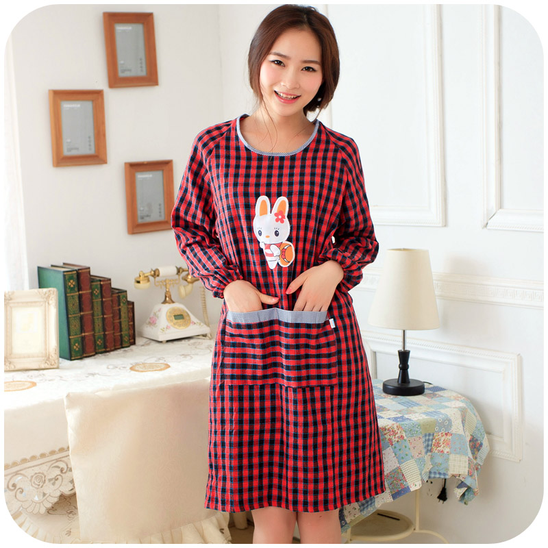 Home home linen apron Korean adult lovely kitchen cooking gown to wear long sleeved clothes are anti pastoral(China (Mainland))