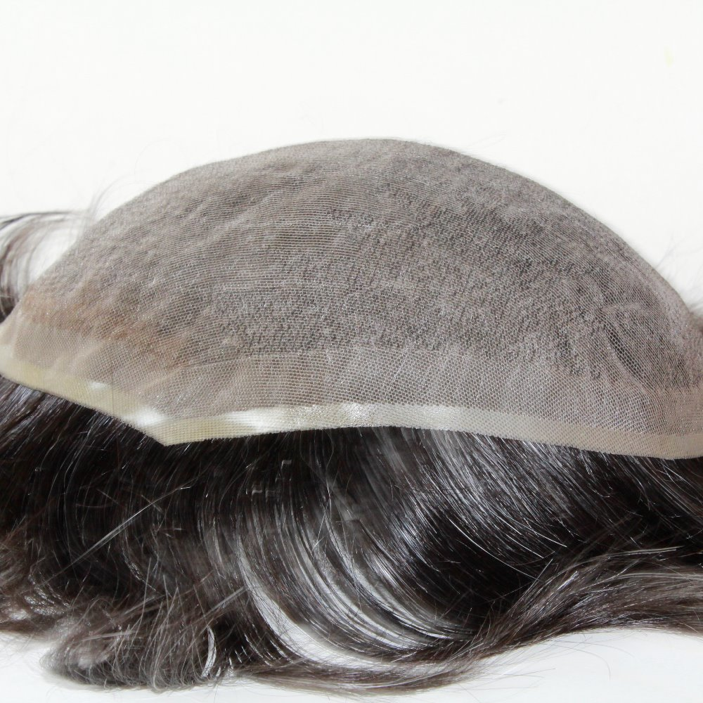 """Men's toupee non-surgical hair replacement full lace base toupee for men size 8""""x 10"""" Can add grey hair(Hong Kong)"""