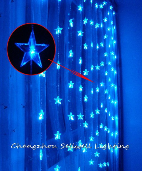 GREAT!Christmas bulb wall decoration 1.2*1.6m blue five pointed star bead curtain H125(China (Mainland))