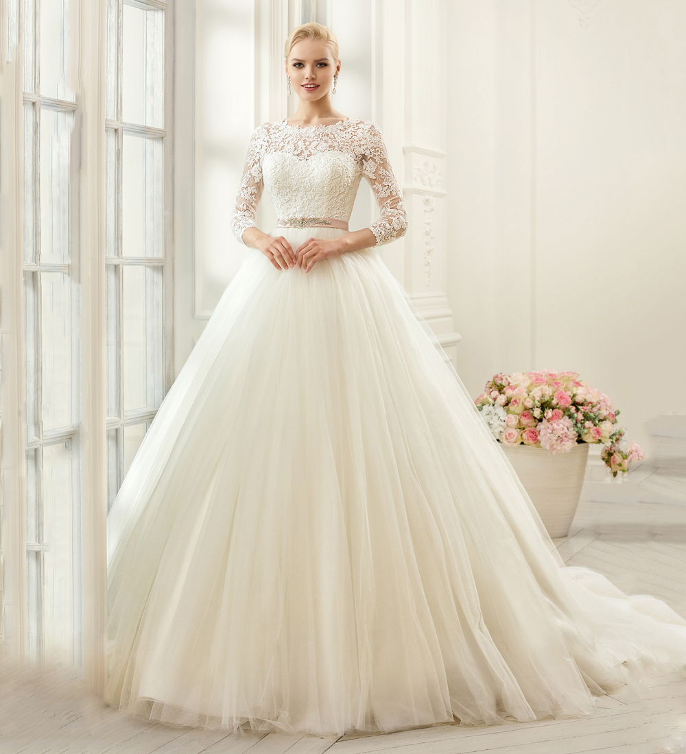 Pw278 ivory long sleeve lace wedding dresses fashion for Long sleeve ball gown wedding dress