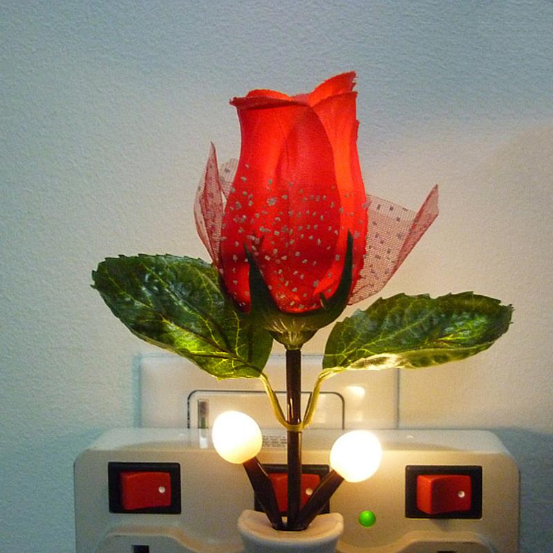 2016 new Fashion LED Rose Night Light Rose Lamp Home Decoration LED Wall Lamp hot sales free shipping(China (Mainland))