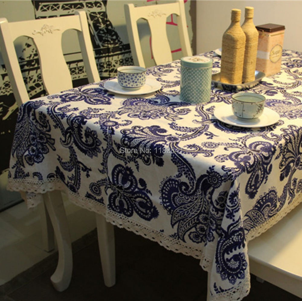 European tablecloths creative household items Upscale linen tablecloth Sofa Multi tea towel Blue and white pattern table cloths(China (Mainland))