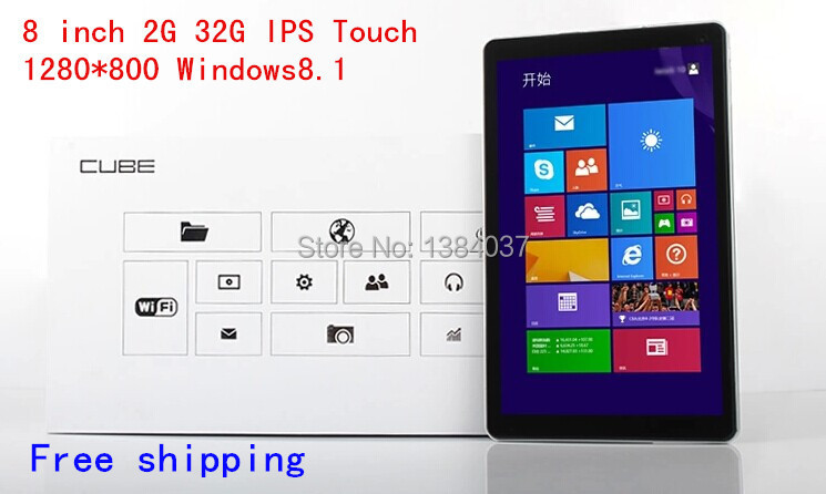 8 inch Tablet Windows 8.1 IPS screen 1280x800 Quad core 2G+32G Panel netbook Laptops Free Shipping(BT88)(China (Mainland))