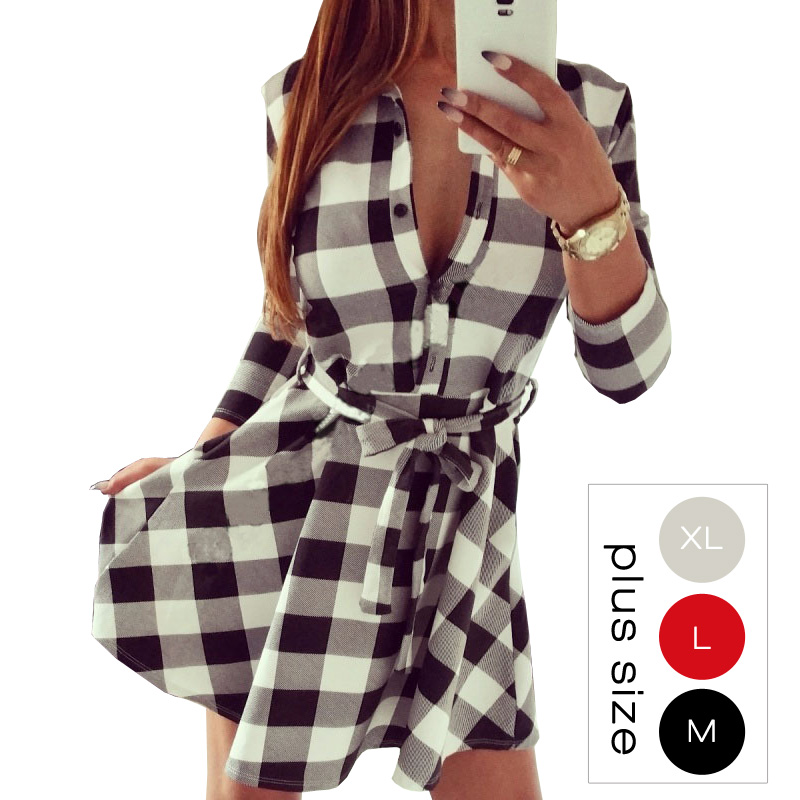 Awesome Women Checked Asymmetrical Shirt Dress Long Sleeve Plaid Dress  Alex