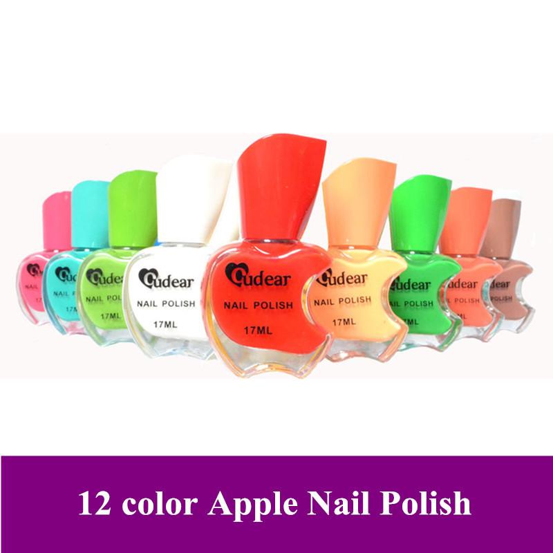 Free shipping! 6 pcs/lot New Pro 12 color Apple design colorful Nair art Nail polish gel pot, dropshipping!(China (Mainland))