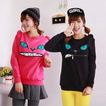 Casual Sweatshirt Zipper Smile Mouth Shoulder Sport Suit Women Long Sleeve Hoodies 100PCS/lot(China (Mainland))