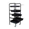 Oversea hot sale 1pcs 5 Tier Beauty Salon Hairdresser Spa Coloring Hair Trolley Rolling Storage Cart