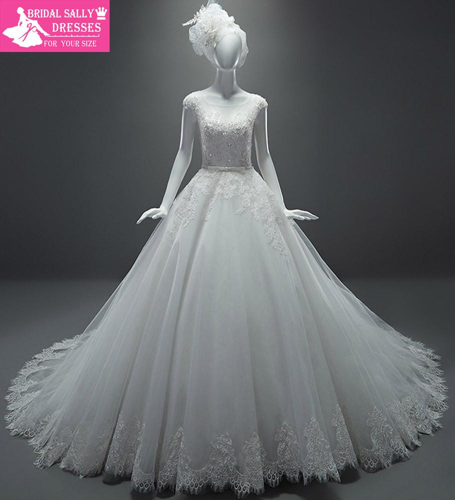 Real sample wedding dresses a line see through cap sleeves for See through wedding dresses