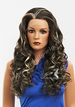 Imstyle Party Wigs Dark Brown Highlighted Blonde Bouncy Curly Synthetic Lace Front Wigs Heat Resistant For Black Women Free Ship