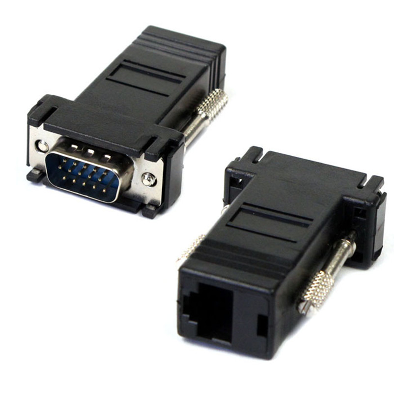 New VGA Extender Male To Lan Cat5 Cat5e RJ45 Ethernet Female Adapter(China (Mainland))
