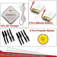Free shipping!2pcs 3.7V 600mAh Battery+4in1 Charger+8pcs Propeller for JXD 509 509W 509G Drone
