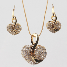 18k Gold Filled shine Austrian Crystal heart shape Jewelry Sets