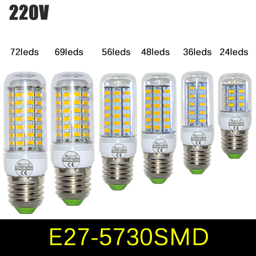 SMD 5730 E27 E14 LED Lamp 7W 12W 15W 20W 25W 30W 5730SMD LED Lights Corn Led Bulb Chandelier Candle Lighting Home Decoration(China (Mainland))