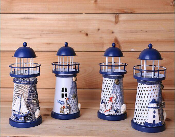free shipping ~ 1pcs / set new Mediterranean style wrought iron candelabra lighthouse holiday candles decorated size 15 * 6.5CM(China (Mainland))