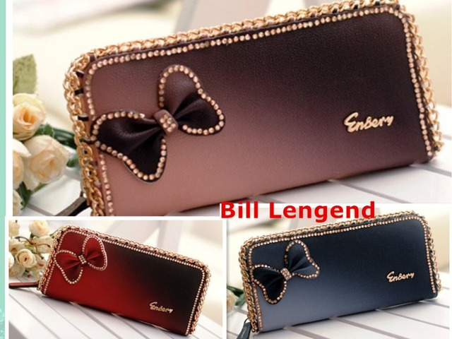 Shiny bow diamond  female Long wallet sexy zipper wallet fashion sexy woman purse new sweet gold chain cute women card holder