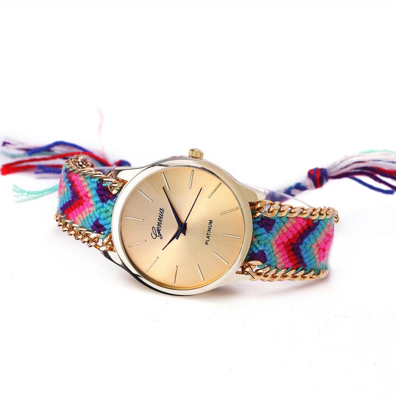 Гаджет  Relojes Mujer Fashion Women Geneva Watch Pattern Weaved Rope Alloy Chain Watch Bracelet Quartz Dia lwatch Gift Relogio feminino None Ювелирные изделия и часы