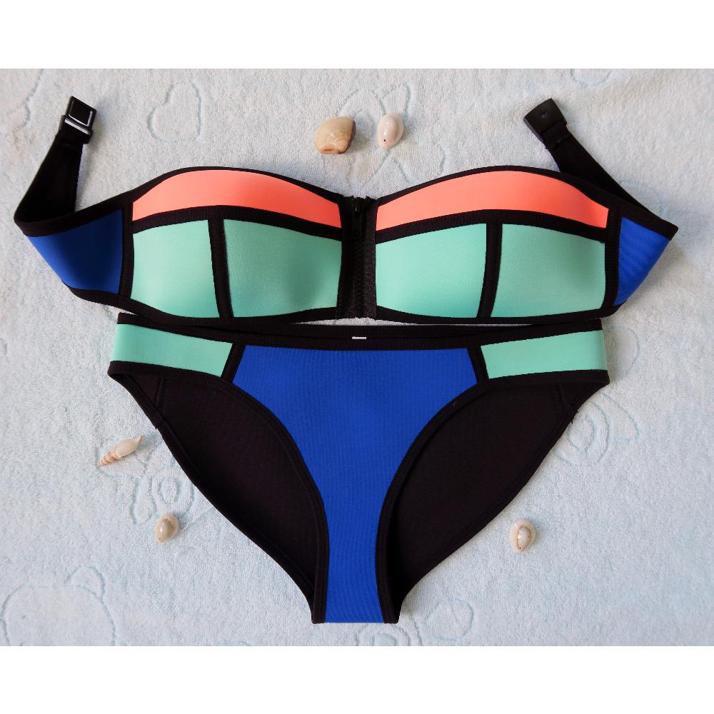 Summer 2016 Women Neoprene Bikini Sexy Swimwear Neoprene Bikini Set Hot Swimsuit Zipper Strapless Bath Suit Push UP - LB002(China (Mainland))