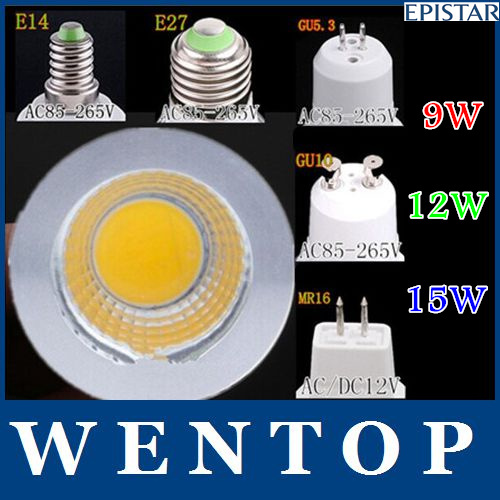 15W COB GU10 GU5.3 E27 E14 MR16 Dimmable LED Sport light lamp High Power bulb More than 120 degrees DC12V AC 110V 220V 240V(China (Mainland))
