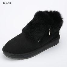 INOE moda inek süet deri gerçek tavşan kürk kadın rahat kış ayak bileği kar botları kadın kısa kış ayakkabı fermuar stil(China)