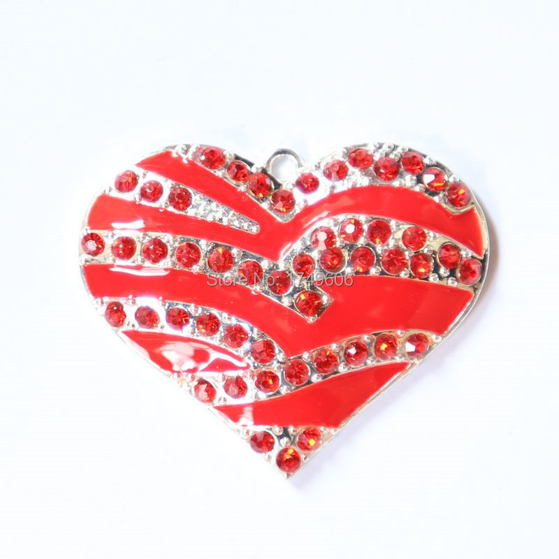 Hot Sell 37x45MM10Pcs/Lot Red Color Silver Zinc Alloy Rhinestone Heart-Shaped Pendant For Jewelry Necklace Making(China (Mainland))