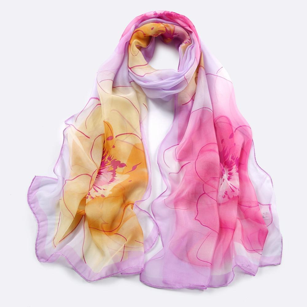178X65CM Fashion flowes printing chiffon silk scarves chiffon silk shawl pure silk sunscreen pashmina hijabs handkerchief(China (Mainland))