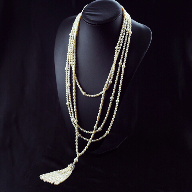 Fashion Long Multilayer Pearl Necklace Freshwater Pearl Choker Charm Zhang Ziyi In Same Jewelry For Women