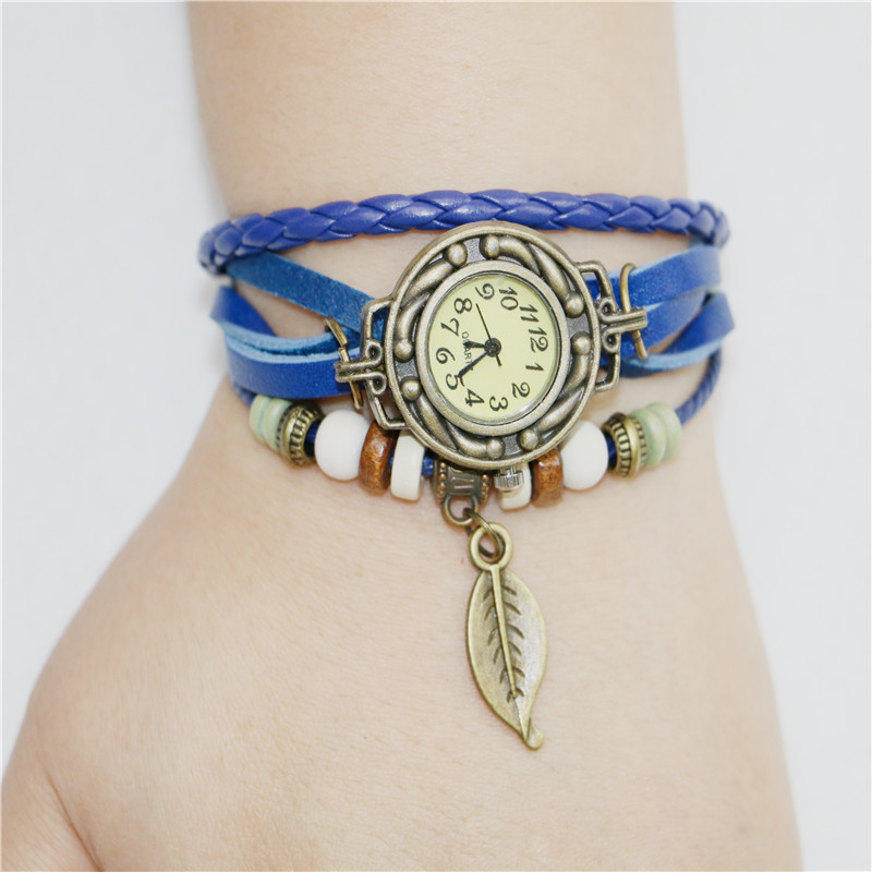 Гаджет  2015 New Fashion New Lady Women Womens Retro Leather Bracelet Tree leaf Decoration Quartz Wrist Watch Wristwatches Free  None Часы