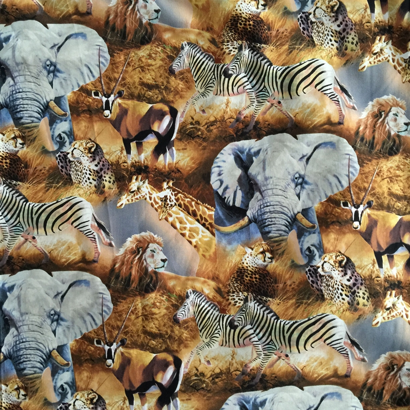 100x110cm Export Order_Wild Animal World Cotton Plain Patchwork Fabric Sewing Cloth Home Decor Material Sofa Upholstery Fabric(China (Mainland))