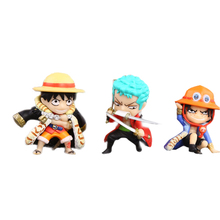 3pcs/set One Piece Luffy Zoro Hat Ace Action Figure 4cm Mini Japan Anime Collection Kids Toys Nice Gifts #F