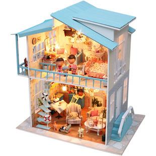 Sweetheart Villa DIY Doll house 3D Miniature Light+Music box+Wood Handmade kits Building model Toy Home&Store Decoration for BJD(China (Mainland))