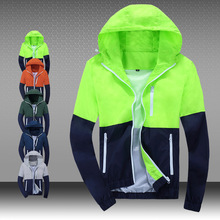 hot selling 2015 new men's sports jacket hooded Outdoor jacket Men Fashion Thin Windbreaker Zipper Coats Outwear size size s-3xl(China (Mainland))