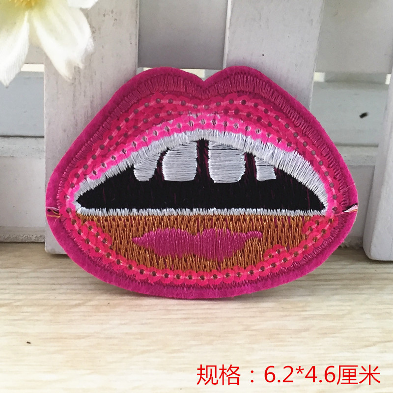 6.2*4.6cm 10 pcs Wholesale red lip pink laser Sequin Transfer Iron On Hotfix Gem Crystal Motif Patch Bling(China (Mainland))