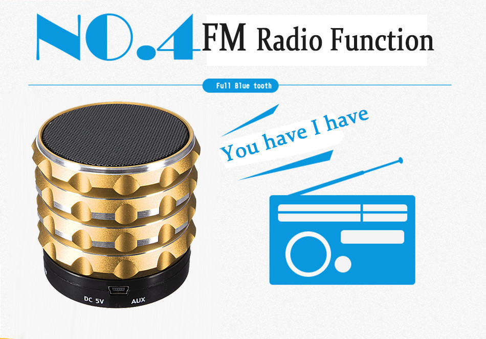 Portable Metal Aluminum Wireless Music Speaker Bluetooth Mini Speakers With MP3 Player Support SD TF Card
