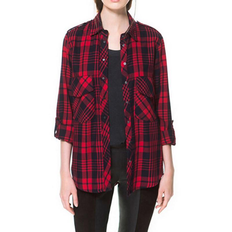 Womens Red Plaid Shirts Blouses 9