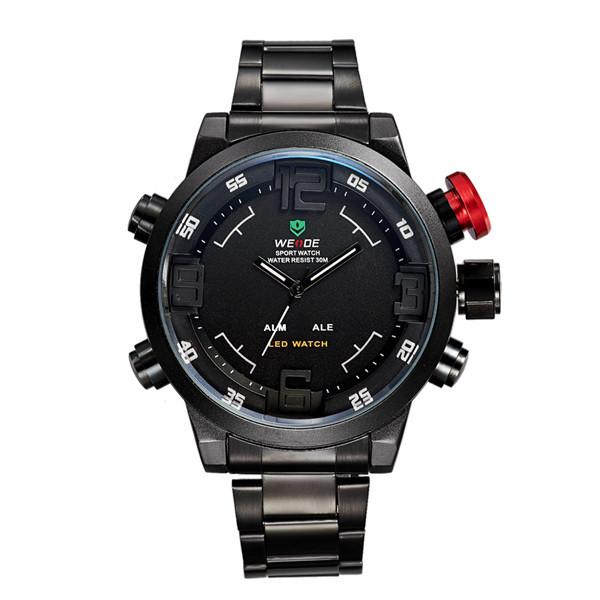 Men's Sports Watches Men Luxury Brand Weide Full steel Quartz Army Military LED Watch Clocks Wristwatches Relogio Masculino 2015(China (Mainland))