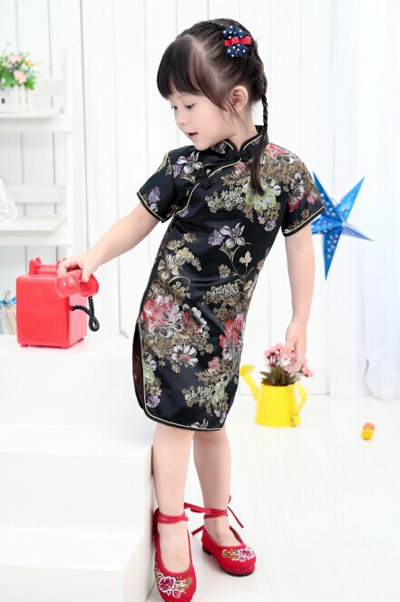 Floral Baby Qipao Girls Dresses Kid Chinese chi-pao cheongsam New Year gift Childrens Clothes Robe<br><br>Aliexpress