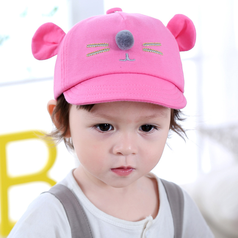 Baby Hats 2017 New Spring Autumn Baby Cartoon Ear Ball Baseball Caps Infant Boys Girls Children Fashion Casual Hats Kids Caps(China (Mainland))