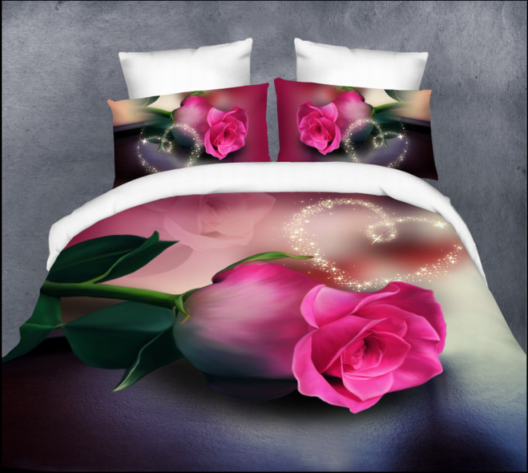 Nantong textile supplier rose 3D Europe and four sets of love bedding bed linen bedspreads clothing(China (Mainland))