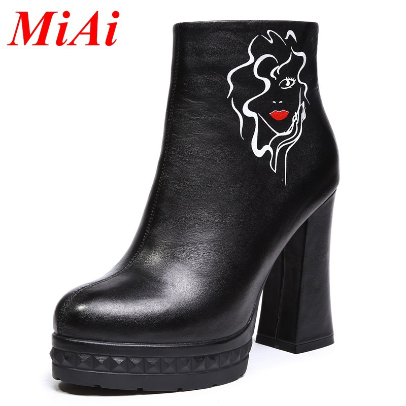 real leather shoes women fashion zip women high-heeled ankle boots winter boots size 34-39 black waterproof platform women shoes<br><br>Aliexpress