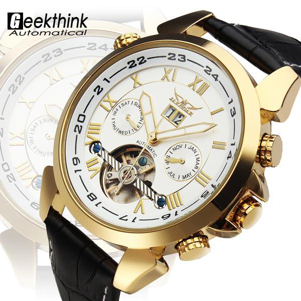 Роскошные золотые турбийон автоматические часы платье свободного покроя механические self-ветер наручные часы relogio masculino дата стимпанк новый