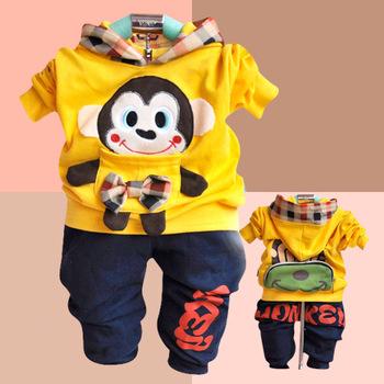 Free / Drop Shipping, Yellow / Blue Children Sports Hoodies, Cartoon Long Sleeve Kids Autumn Wear, Baby 2PCS Baby Clothing Set