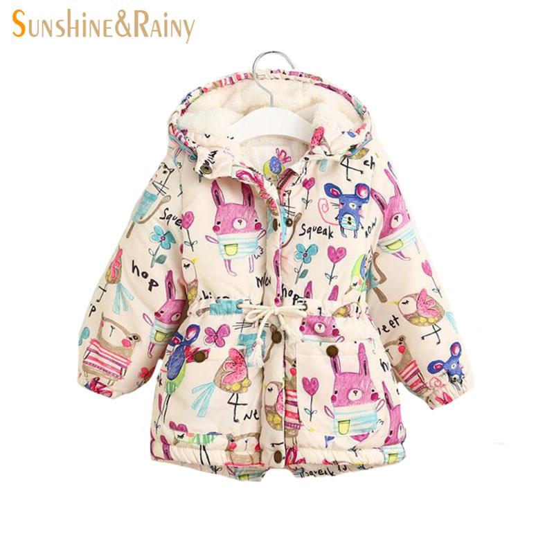 Next 2016 Winter Kids Jackets & Coats Girls Graffiti Parkas Hooded Baby Girl Warm Outerwear Cartoon Animal Children's Jacket(China (Mainland))