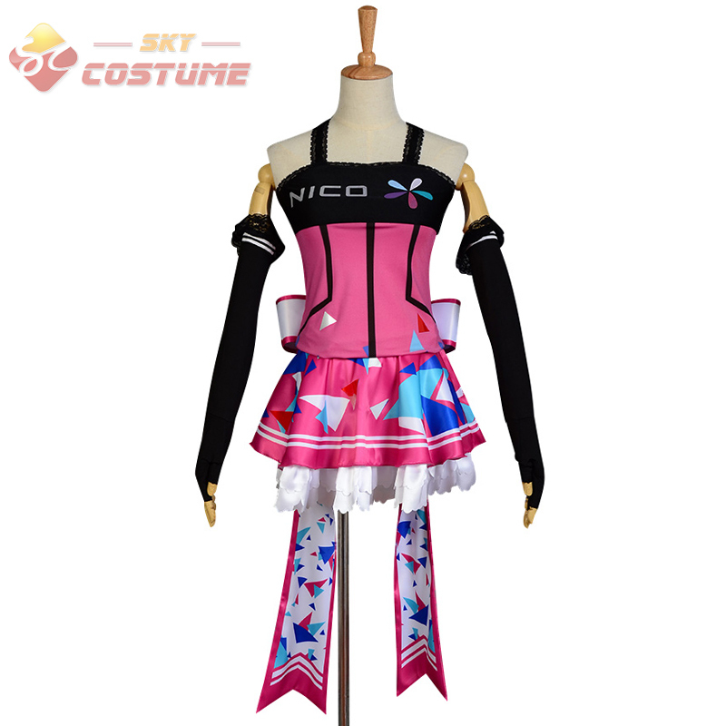 LoveLive! Love Live UR Cards Idolized Nico Yazawa Girls Pink Skirt Sleeveless Anime Cosplay Costumes Custom Made Halloween PartyОдежда и ак�е��уары<br><br><br>Aliexpress